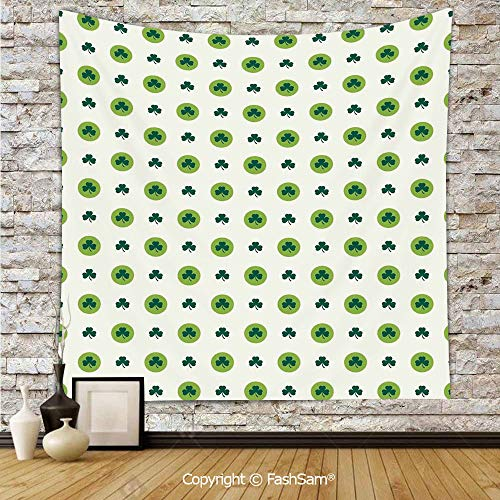 FashSam Tapestry Wall Blanket Wall Decor Clover Flowers Green Dots Cultural Irish St. Patricks Day Pattern Home Decorations for Bedroom(W59xL90) ()