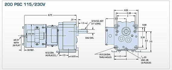 Bison Model 016-200-8050 Gear Motor 1/15 hp 30 RPM 115/230V ... on