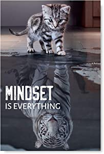 "Mindset is Everything Canvas Art Funny Cat Illustration Inspirational Canvas Motivational Art Room Decor Ready to Hang Picture 8"" x 12"" Poster"