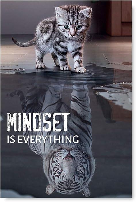 "Mindset is Everything Poster Art Funny Cat Illustration Inspirational Poster Motivational Art Unframed Room Decor Printed Art Picture Mindset is Everything Cat 8"" x 12"""