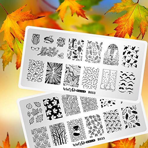 Whats Up Nails - Fall Stamping Plates 2 pack (B033, B053) for Autumn Thanksgiving Day Nail Art Design