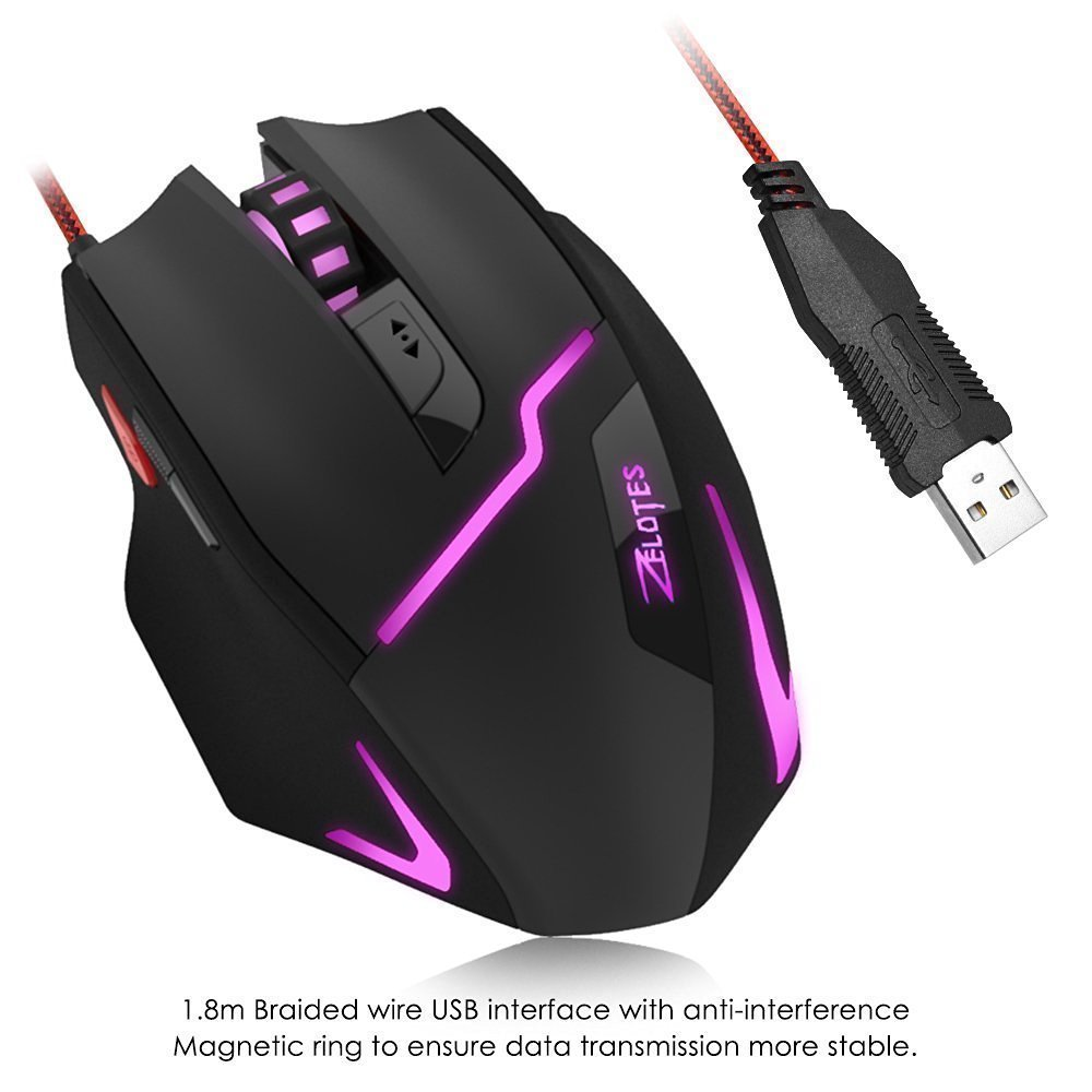 4b99b166d5a Zelotes T10 Professional Gaming Mouse,7200DPI,7: Amazon.co.uk: Electronics