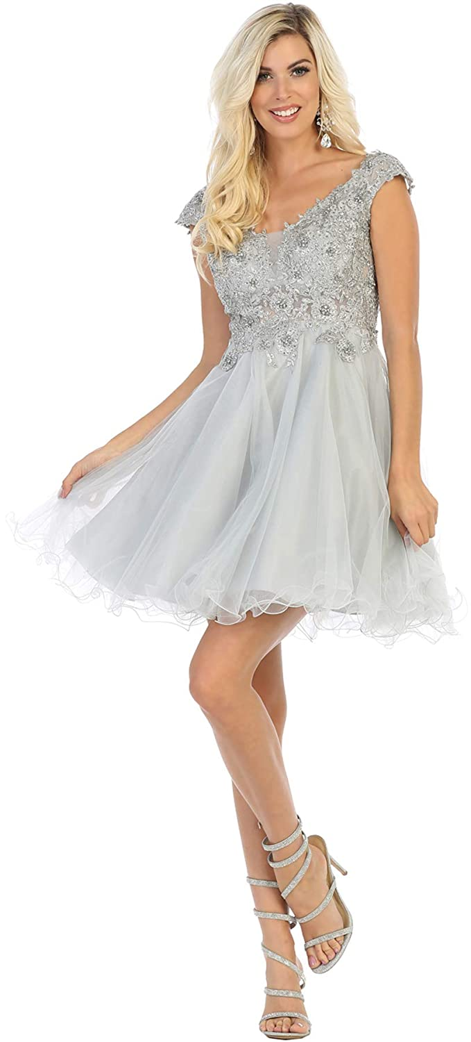Silver Formal Dress Shops, Inc FDS1660 Short Homecoming Embroidered Dress