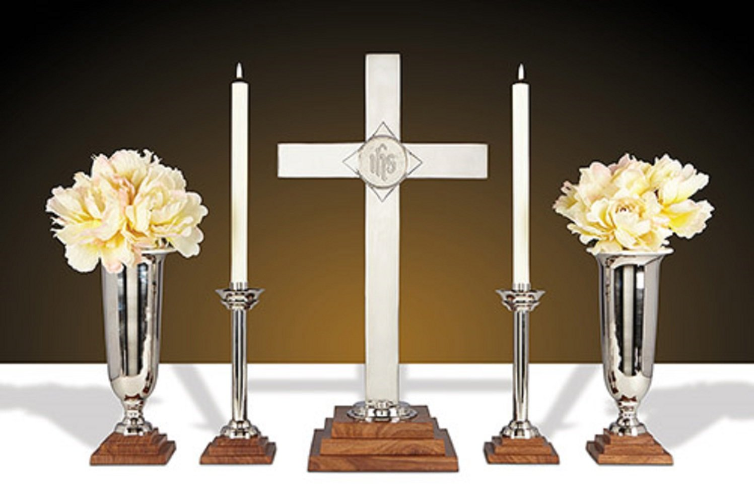 24'' Altar Cross Set -Wood/Nickel Plated Brass