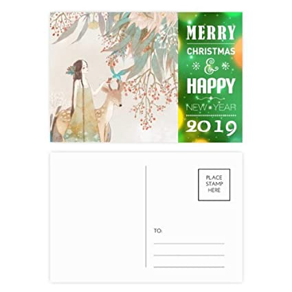 deer chinese classical style illustrator 2019 new year postcard thanks card 20pcs
