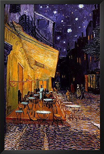 Framed Pavement Cafe at Night by Vincent Van Gogh 36x24 Art Print Poster Wall Decor