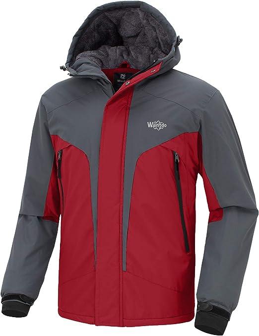 Wantdo Herren Winddichte Berg Ski Jacke Winter Snowboard Mantel Winddichter Regenmantel Warme Fleece Jacke Kapuze Windjacke