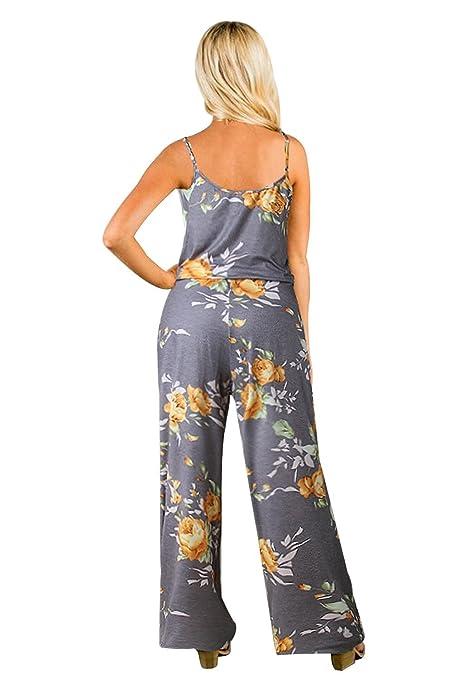 2300088397aa0 BienBien Monos Estampados Mujer Sexy Largos Jumpsuit Chic Mono sin Mangas  de Floral Impresión Elegante Playsuit Anchos Boho Pantalones de Fiesta  Bodysuit  ...