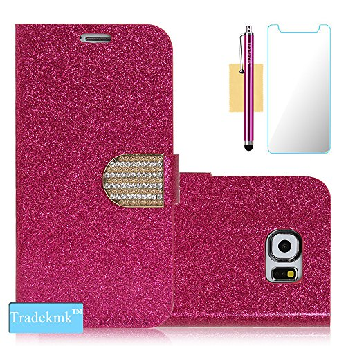 Galaxy S6 Edge Plus Case, Tradekmk(TM) Glitter Powder&PU Leather Flip Wallet Stand Case For Samsung Galaxy S6 Edge Plus [+Stylus+Screen Protector+Cleaning Cloth][Crystal-Studded]-(Rose Red)