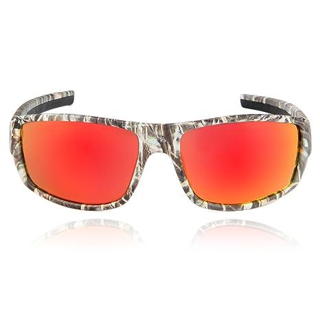 Queshark Uomo Polarizzata Occhiali Sportivi Mimetico Frame For La Bicicletta Pesca Trekking (Mimetico-Red) pUANsOfW0y