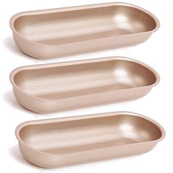 TAMUME Acero Carbono Hecho en Casa Pancho Conjunto de Moldes de 3 Antiadherente Bollo de Hotdog