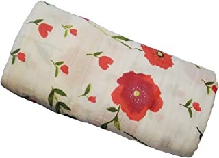 HGHG Muslin Swaddle Blankets Large Silky Soft 70% Bamboo Fiber 30% Cotton,47x47 Inches (Flamingo)