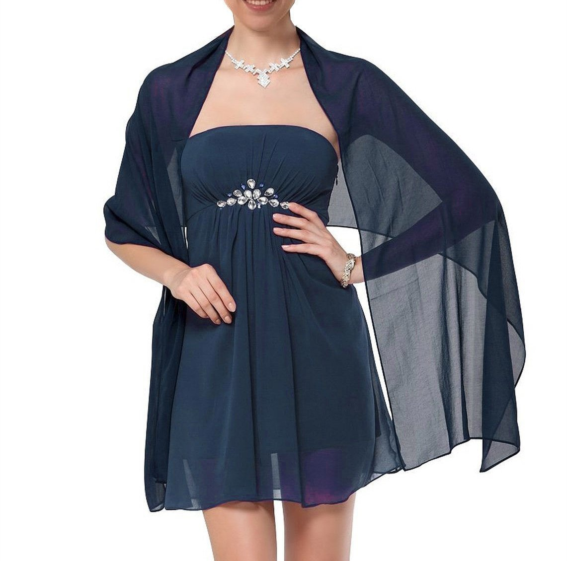 MarryWang Girl chiffon dress shawl and packaging (Dark Navy Blue)