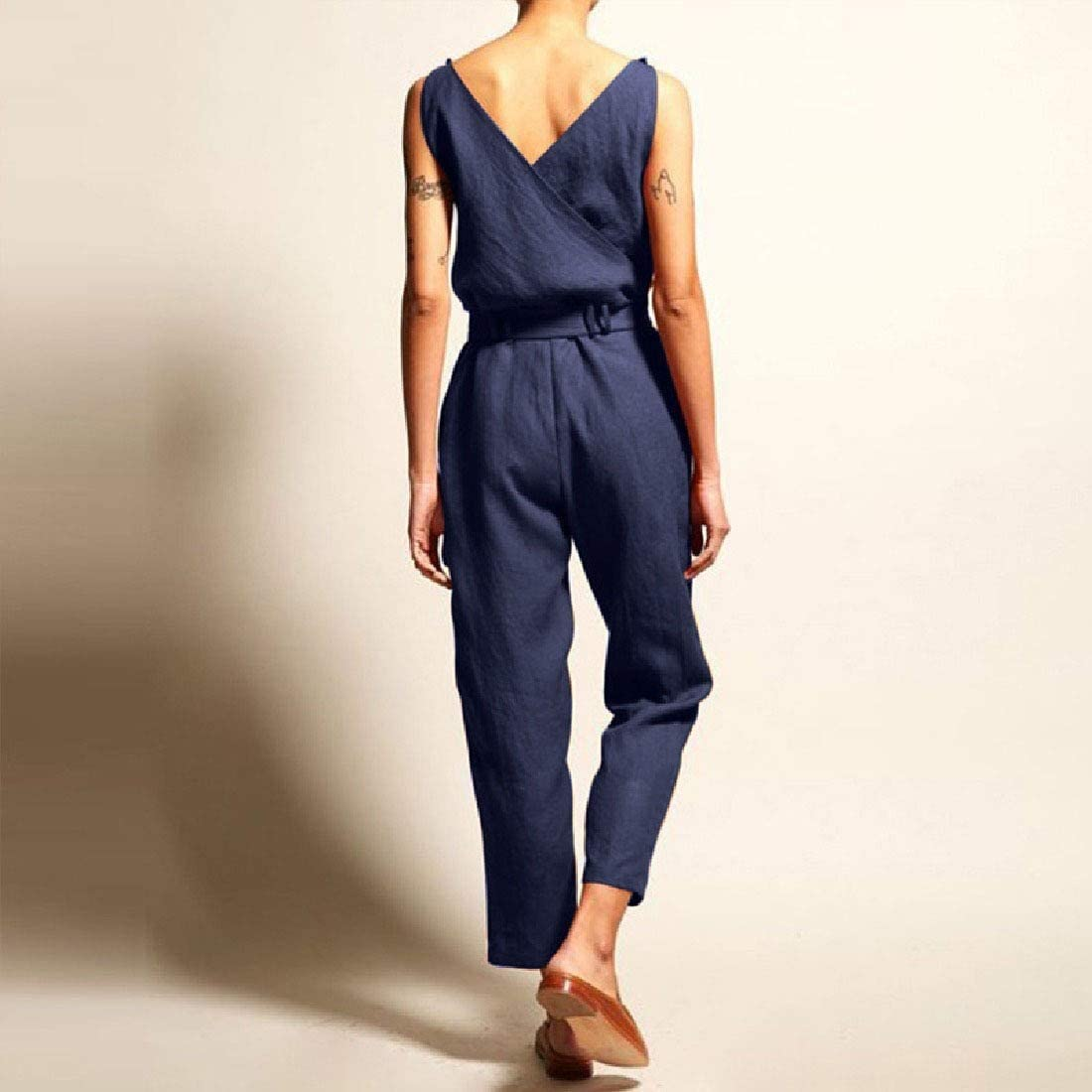 Comaba Womens Summer Belted Sleeveless V-Neck High-Waisted Jumpsuits Romper