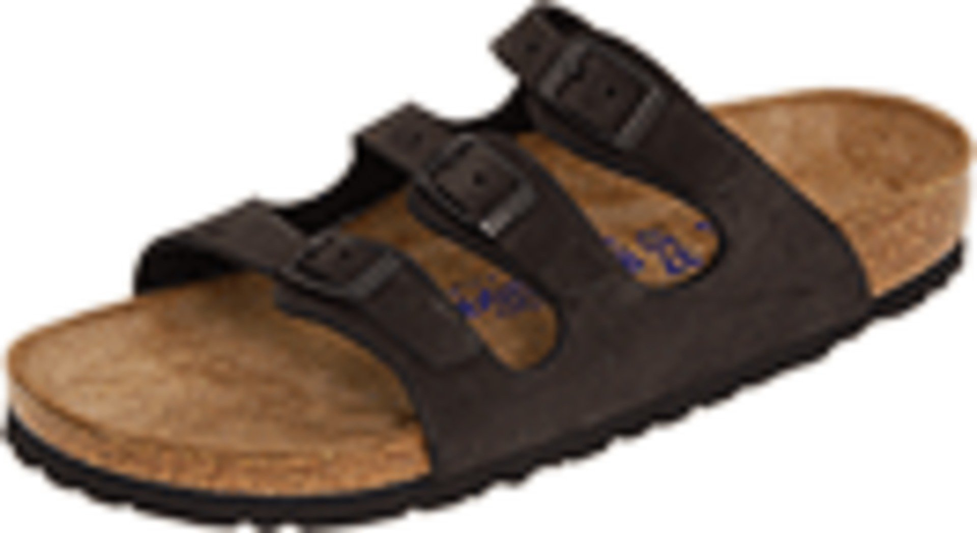 Birkenstock Women's Florida Soft Footbed Birko-Flor  Black Nubuck Sandals - 38 M EU / 7-7.5 B(M) US