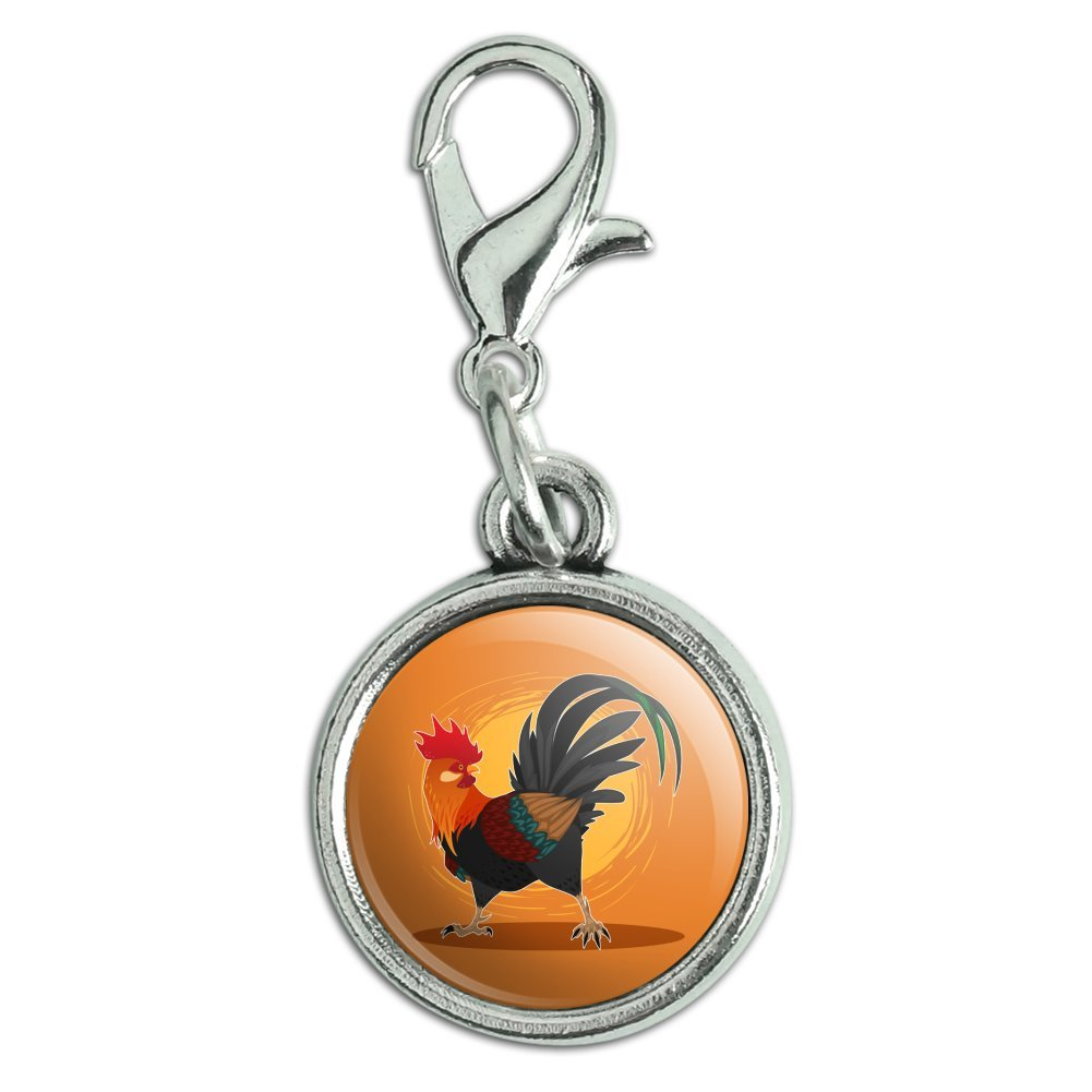 GRAPHICS /& MORE Rooster of Awesomeness Chicken Antiqued Bracelet Pendant Zipper Pull Charm with Lobster Clasp