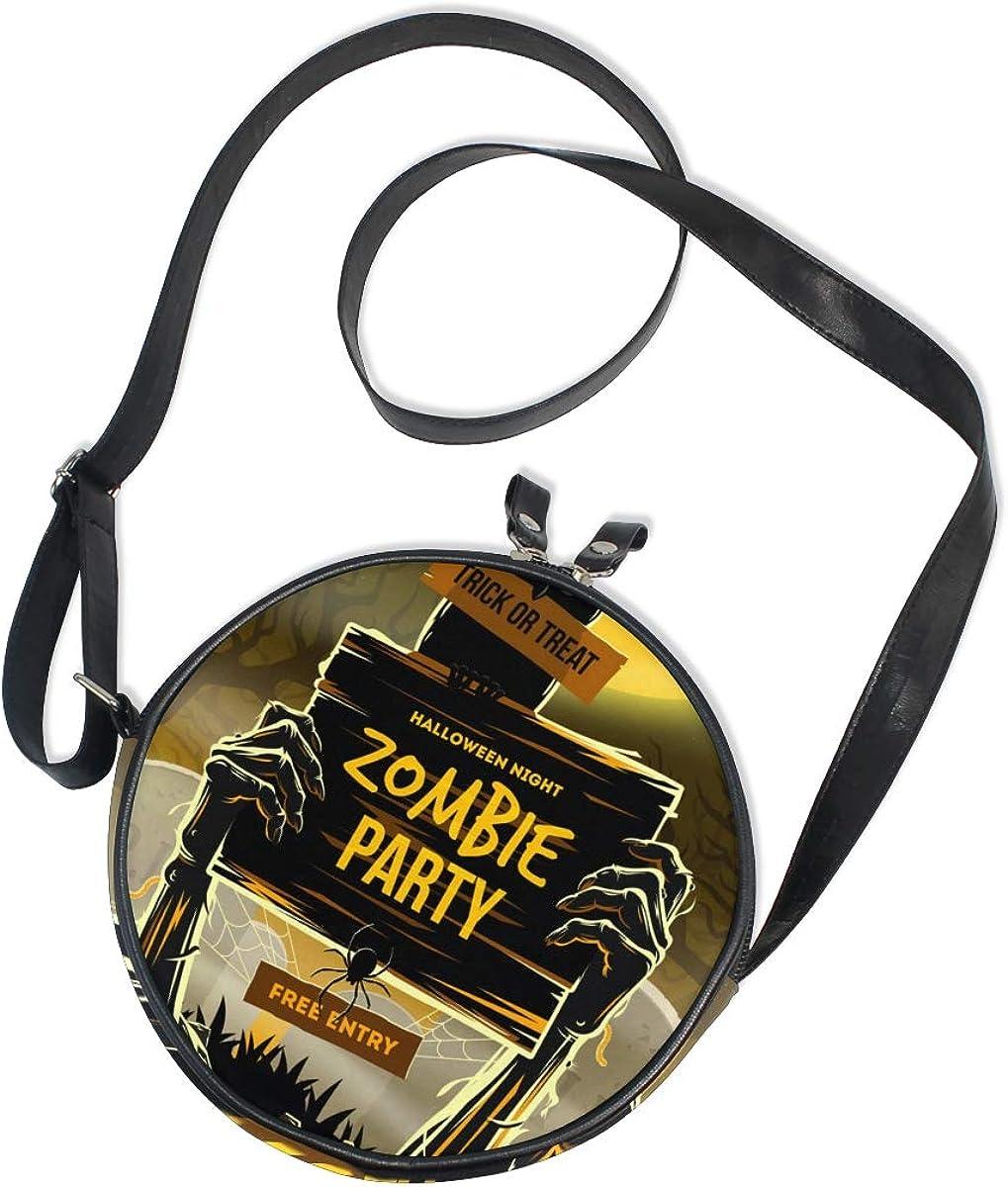 KEAKIA Halloween Zombie Party Round Crossbody Bag Shoulder Sling Bag Handbag Purse Satchel Shoulder Bag for Kids Women