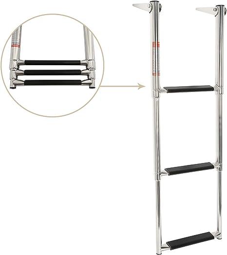 NiceDD Escalera de acero inoxidable de 3 escalones Escalera telescópica Escalera telescópica con peldaño antideslizante y mango incorporado (7331S): Amazon.es: Deportes y aire libre