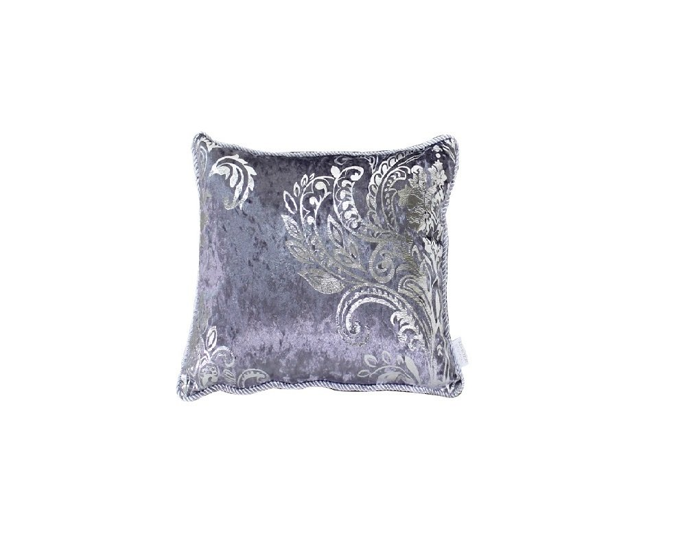 HYSENM Square 18x18 Luxury Velvet Silver Patterns Pillow Case Sham Cover Throw Cushion Cover Office Home Hotel Décor, Grey 18''X18''