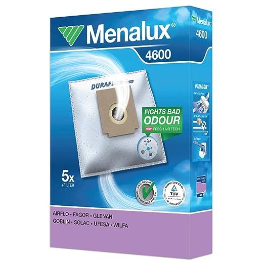 Menalux 4600 – Bolsas para aspiradores Fagor VCE140 y VCE145, Solac 898, 901, 903 y A401, Clatronic, Bomann