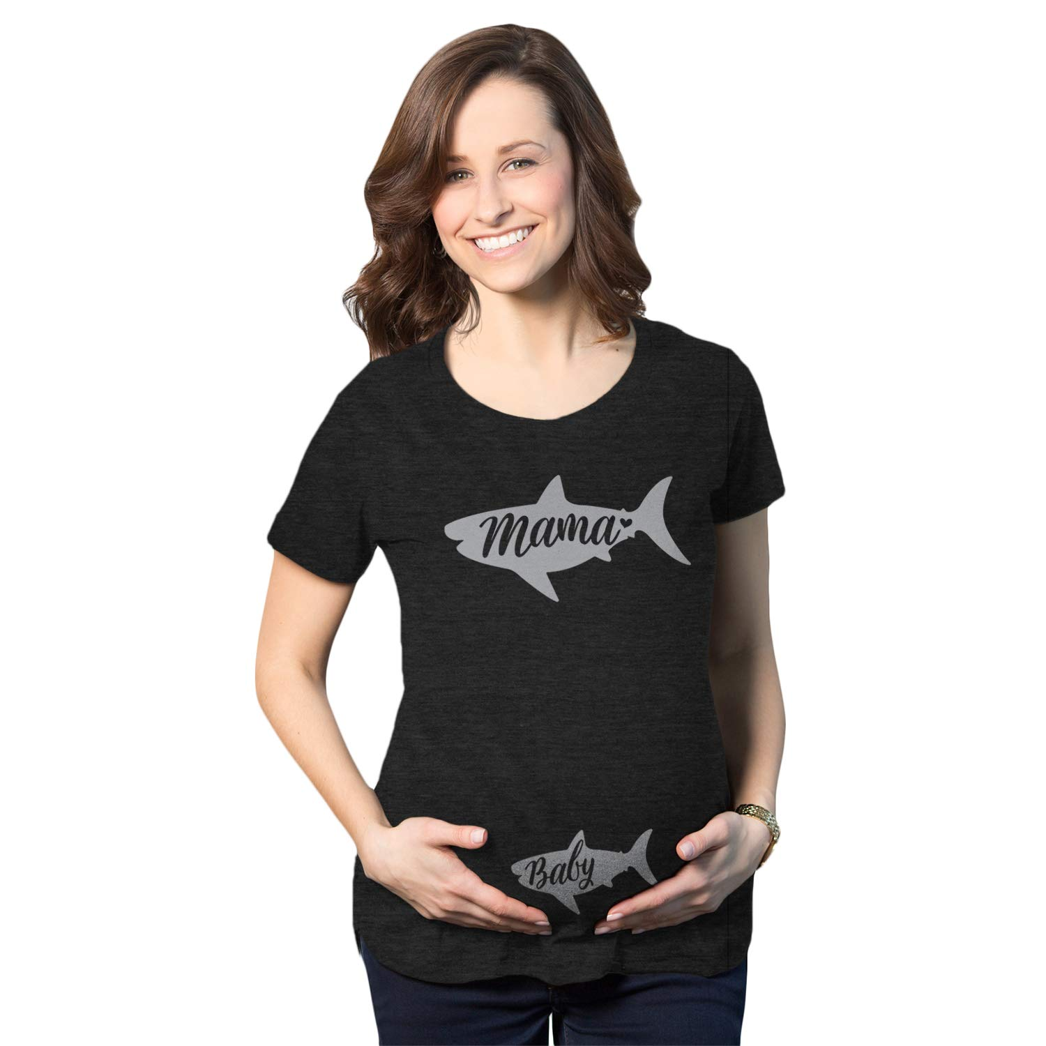 Maternity Mama and Baby Shark Pregnancy Tshirt Cute Viral Song Tee