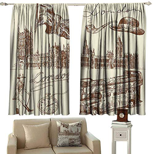 London Decor Collection Classical curtain Sketch of national British Emblems Big Ben Houses of Parliament Bus Flag Image Suitable for Bedroom Living Room Study, etc.63
