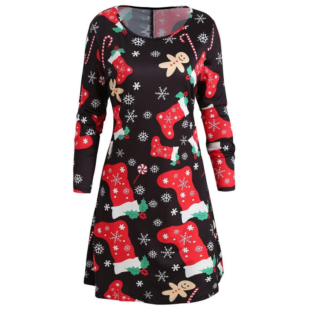 TIREOW Kleider Damen Weihnachten Gedruckt Langarm Abend Prom Kostüm Swing Dress