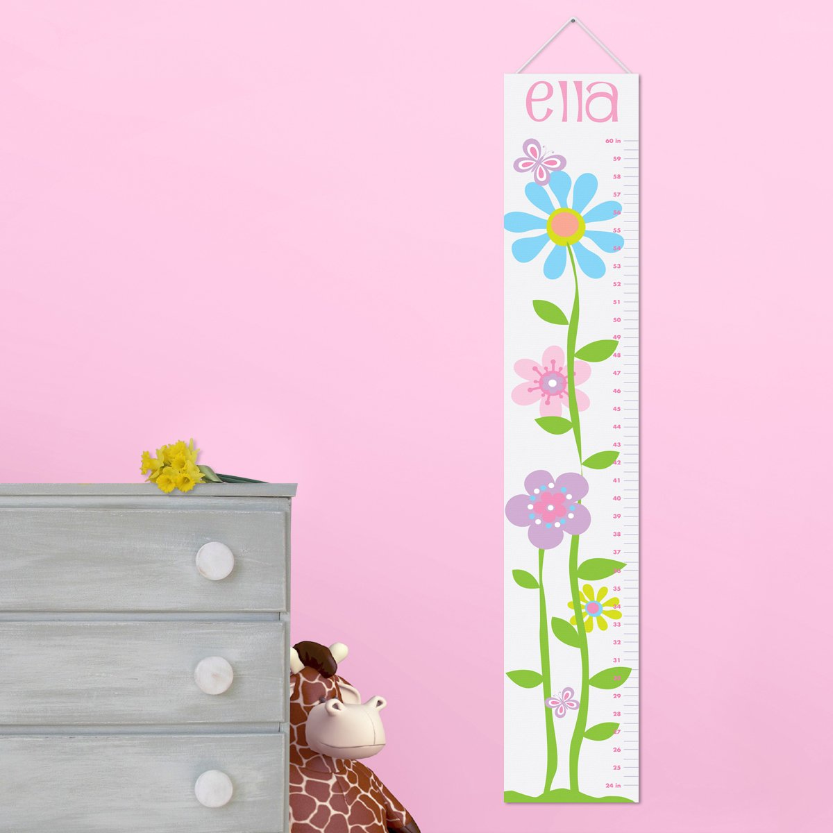 Personalized Growth Chart for Girls - Butterflies and Blooms Children Nursery Baby Room Decor Wall Decals Vinyl Sticker