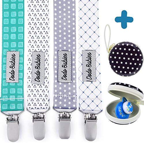 Pacifier Clip by Dodo Babies Pack of 4 + Pacifier Case, Premium Quality for Boys and Girls Modern Designs Universal Holder Leash for Pacifiers, Teething Toy, Baby Shower Gift Set ()