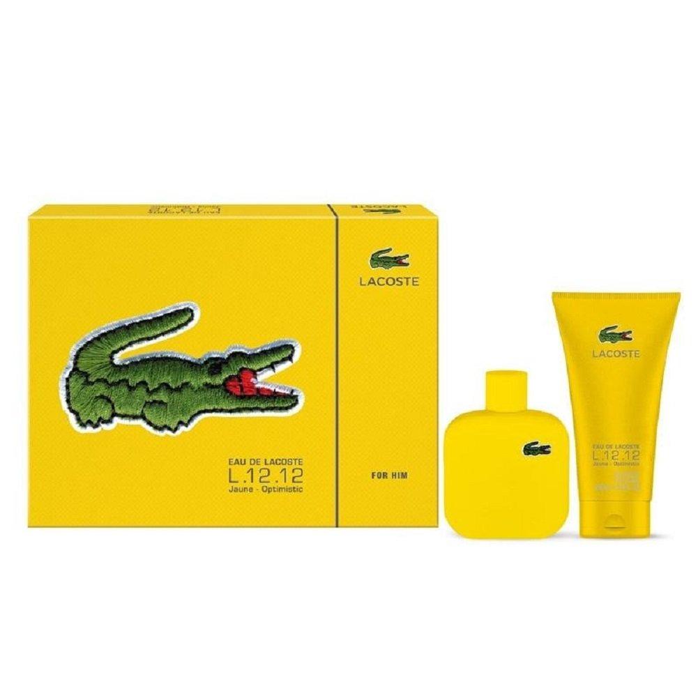 Lacoste 2 Piece Jaune Optimistic Eau de Toilette Spray Gift Set for Men PerfumeWorldWide Inc. 737052906782