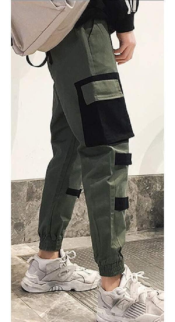 Fubotevic Mens Casual Multi-Pockets Color Block Harem Loose Fit Jogger Pants Trousers