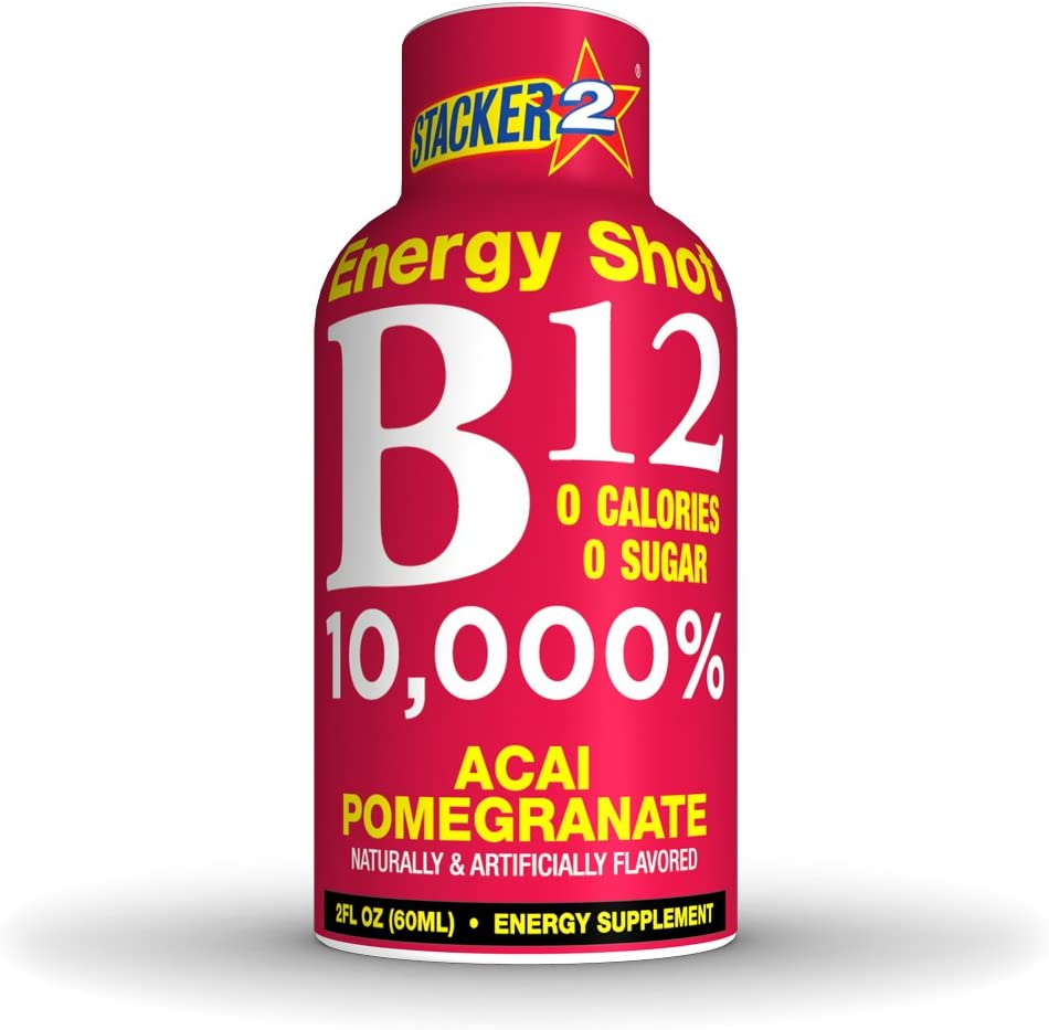 Amazon Com Stacker 2 B12 No Calorie Zero Sugar Energy Vitamin Shots 2 Fl Oz Pack Of 12 Acai Pomegranate Health Personal Care