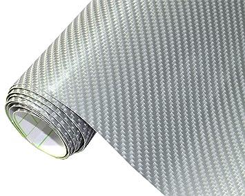 300 x 152 cm flexibel Blasenfrei Auto Folie 6,2€//m² 4D Carbon Folie weiss