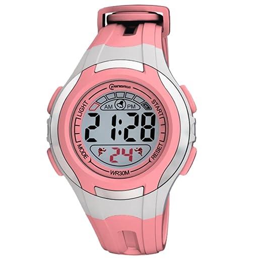 Montre Concept-Reloj digital de mujer/infantiles, Rosa-Correa de plástico redondo con fondo Gris-marca Mingrui-MR8545, color rosa: Amazon.es: Relojes