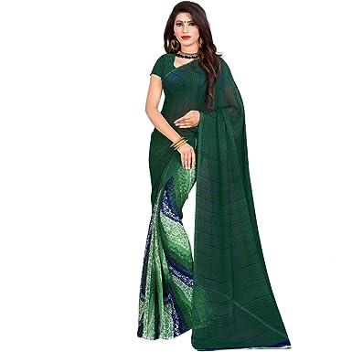 52ad9cb31e398e Vasu Saree Women's Weightless Saree With Blouse(G-1009 Dark Green): Amazon. in: Clothing & Accessories