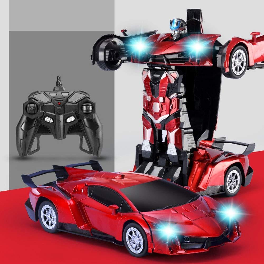 GLBS Fernbedienung Auto Spielzeug Rc Auto Wiederaufladbare Vier Rad Stunt Auto 3D Verformung Racing Fahrzeug Safe & Durable 2,4 GHz High Speed Rennwagen Funksteuerung Spielzeug Für Kinder A1-rot 1 battery