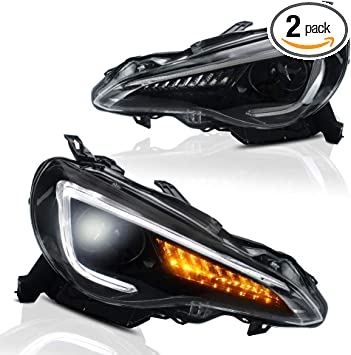 A/&K Led Headlight for Toyota 86 2012-2019,Subaru BRZ 2013-2018,Scion FRS 2013-2016,Dual Beam Projector Head Lamp Assembly with Sequential Turn Signal Light and Daytime Running Light,Both Left/&Right