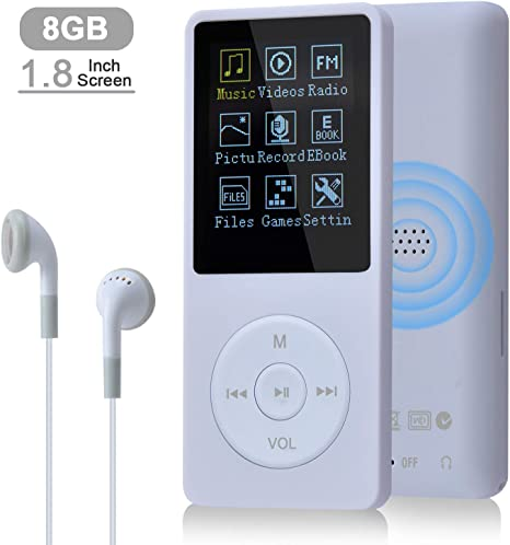 COVVY Slim Music Player 8 GB Portable Lossless Sound 70 Hours Screen MP3 Player Support up to 64 GB White