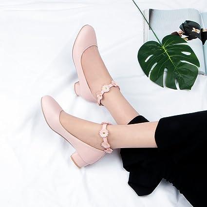 9486930edd290 Amazon.com : GAOLIM Single Shoes Female Spring With Bold, With Round ...