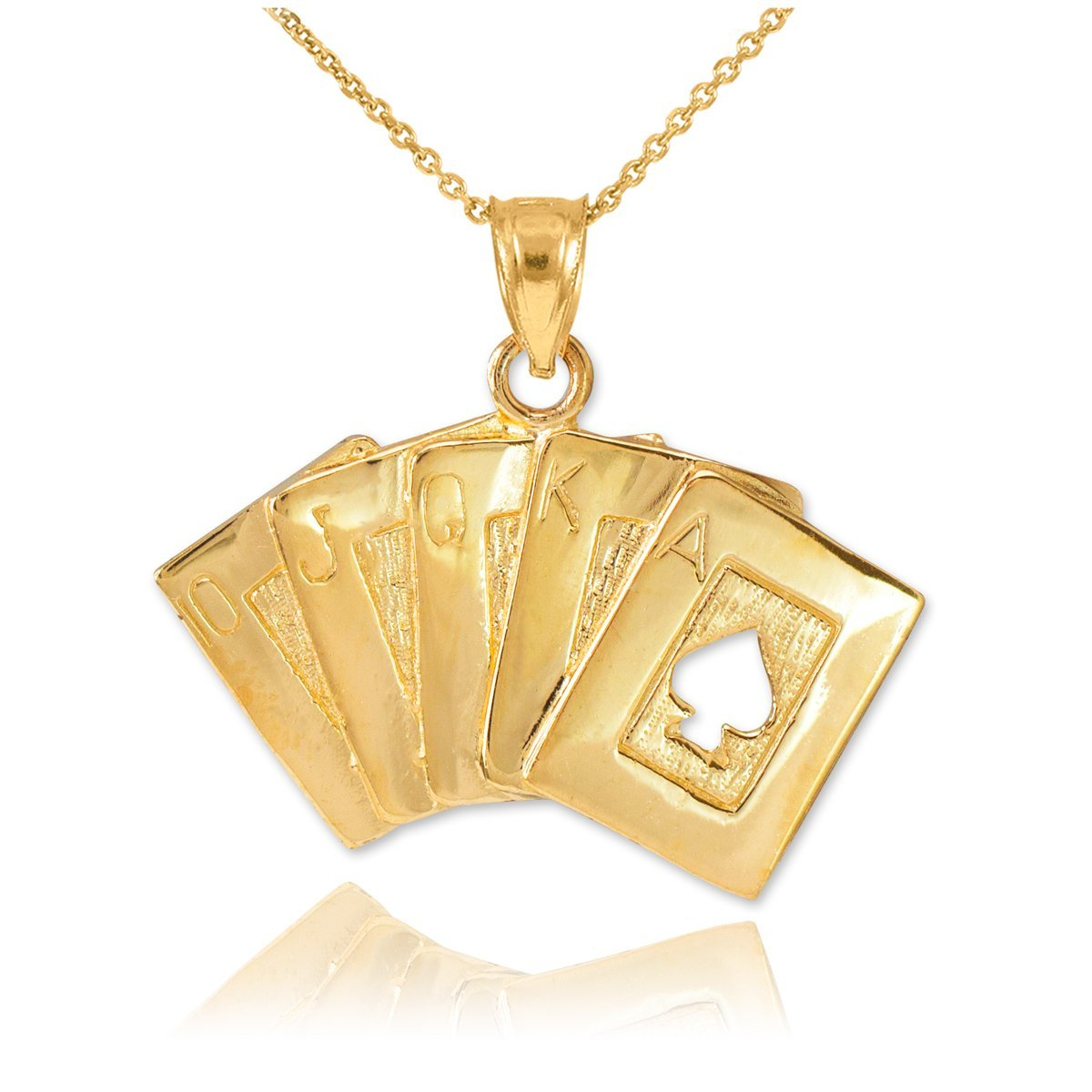 Mens Fine Jewelry Solid 14k Yellow Gold Royal Flush of Spades Poker Pendant Necklace