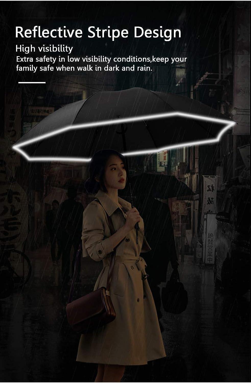 Paraguas Invertido Paraguas a Prueba de Viento Paraguas Inverso Plegable Compacto con Franja Reflectante 10 Costillas Paraguas de Viaje Port/áTil de Apertura y Cierre Autom/áTico para Mujeres