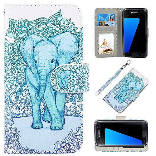 S7 Case, UrSpeedtekLive Galaxy S7 Wallet Case, Premium PU Leather Wristlet Flip Case Cover with Card Slots & Kickstand for Samsung Galaxy S7, Elephant Pattern