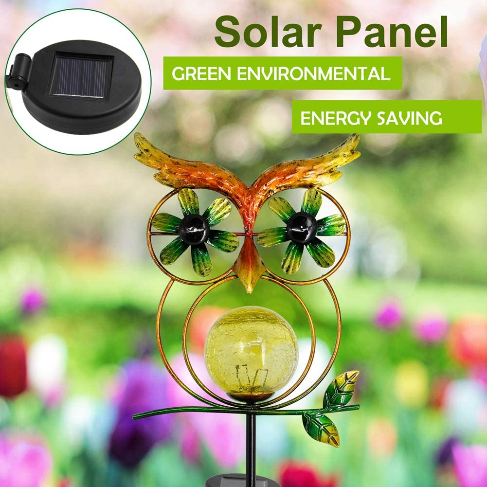Solar Powered Outdoor Wind Spinner Metal Stake Lights Yard Lawn LED Lighting Glass Ball Wind Catcher Decorative Lights for Walkway MAGGIFT 39.5 Inch Garden Solar Owl Light Warm White Pathway