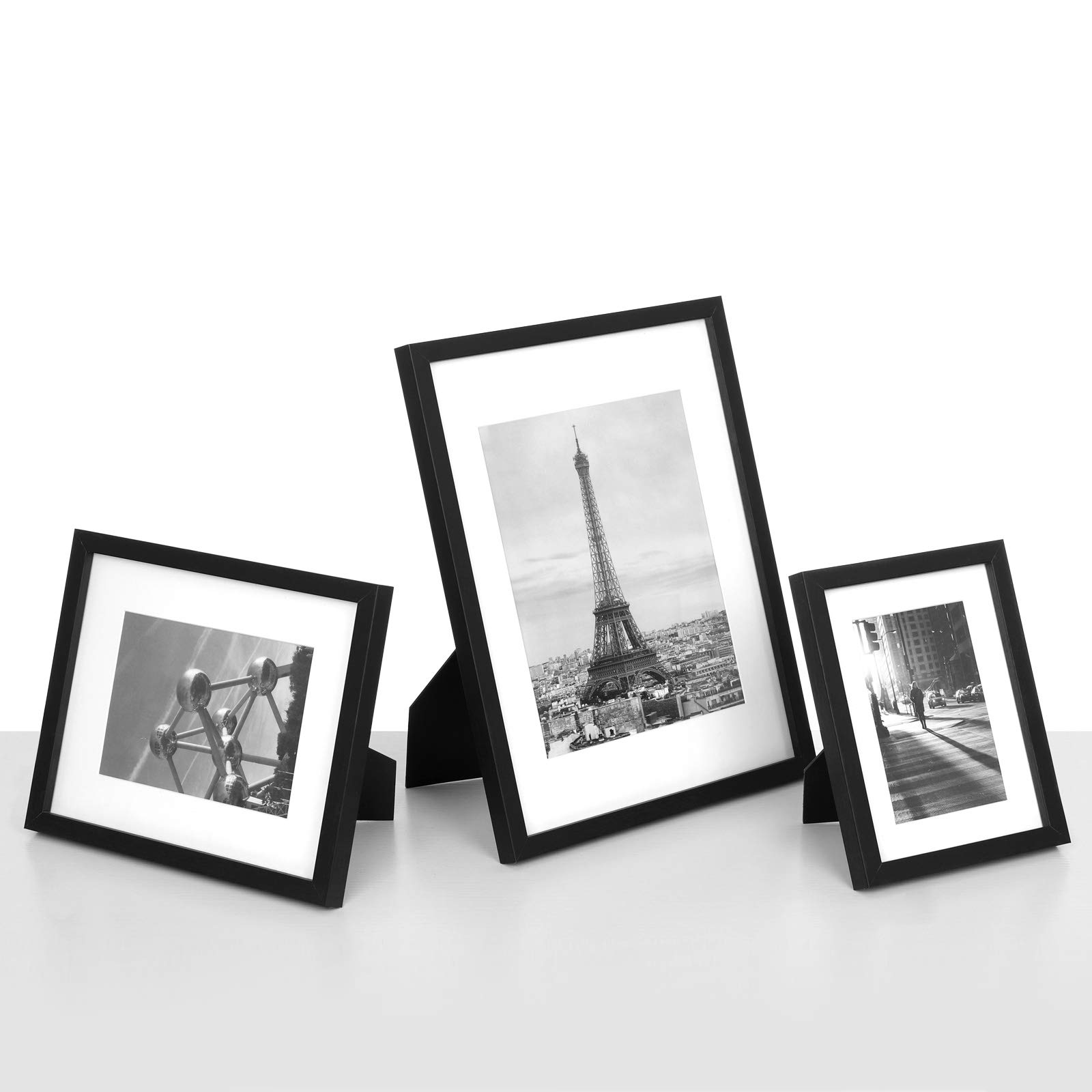 SONGMICS Picture Frames Set of 7 Pieces, One 11 x 14 Inches, Two 8 x 10 Inches, Four 6 x 8 Inches, with White Mat Real Glass, for Multiple Photos, Black Wood Grain URPF37BK by SONGMICS (Image #6)