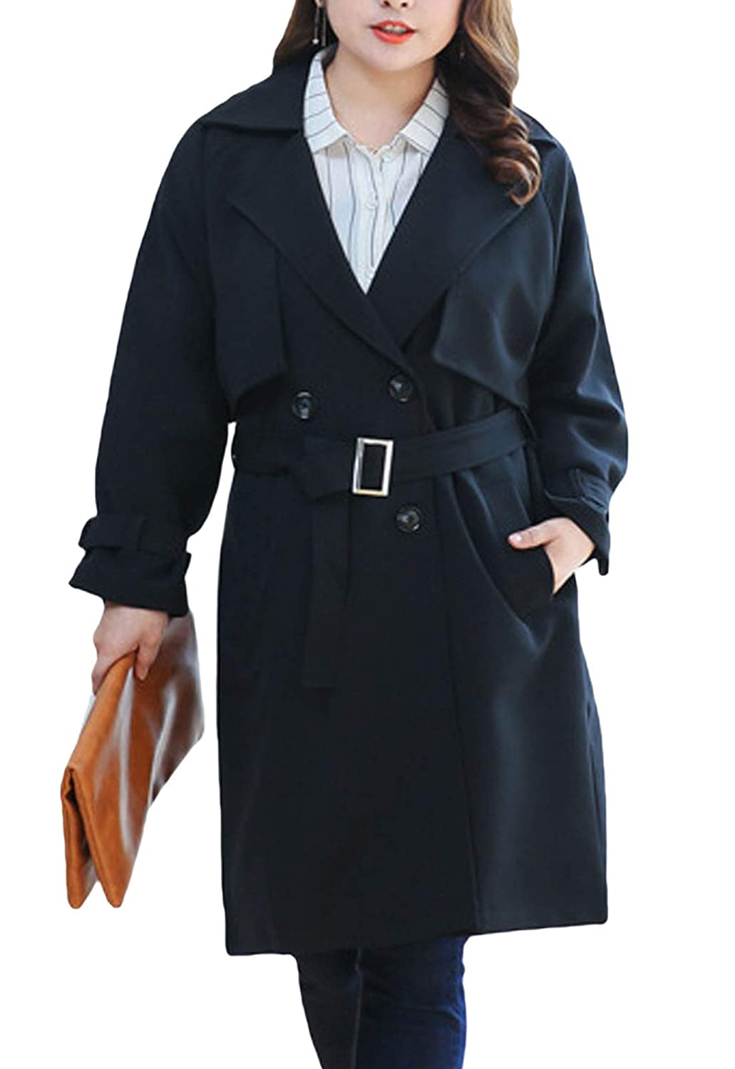 Black Flygo Women's Elegant Double Breasted Belted Trench Coat Tops