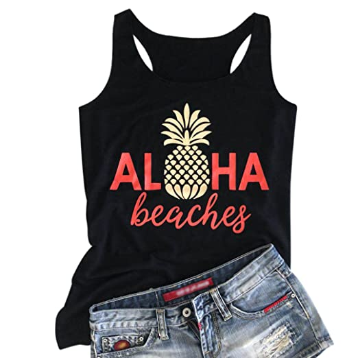 7a07b90d6273b LANMERTREE Women Graphic Tank Top Pineapple Letter T Shirt Funny Sleeveless  Tees Camis at Amazon Women s Clothing store