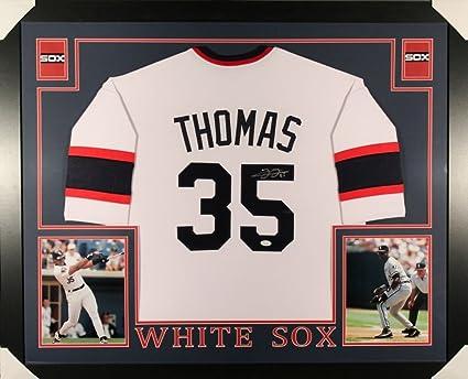 purchase cheap 113e2 f4bec Frank Thomas Signed White Sox 35x43 Custom Framed Jersey COA ...