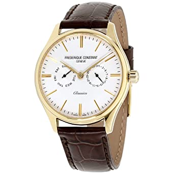 Frederique Constant Classics Quartz Stainless Steel Plated Yellow Gold Mens Watch - 40mm Analog White Face