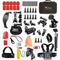 Kitway Action Camera Accessories Kit for Akaso EK7000/ EKEN H9R/ GoPro HERO 5 Black Session 4 3+ 3 2 1/ DBpower/  SJ4000/ SJ5000/ SJ6000 and More (50-in-1)