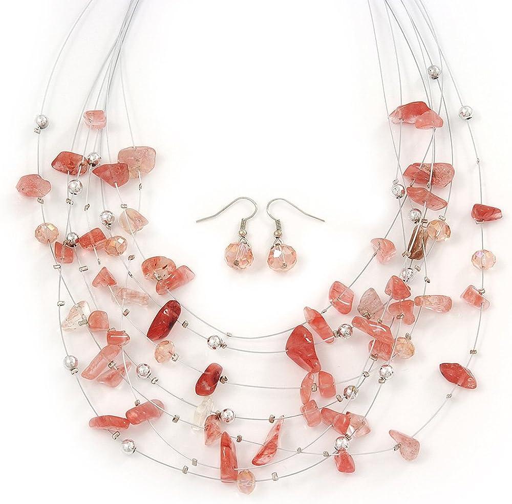 Conjunto de collar de hilos múltiples con piedras semipreciosas rosas/claros y cuentas de metal plateado y Pendientes